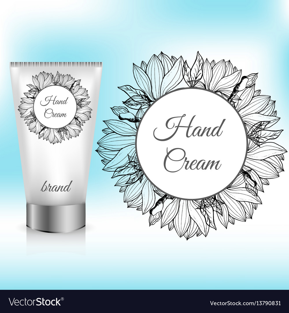 Hand cream packaging with magnolia wreath