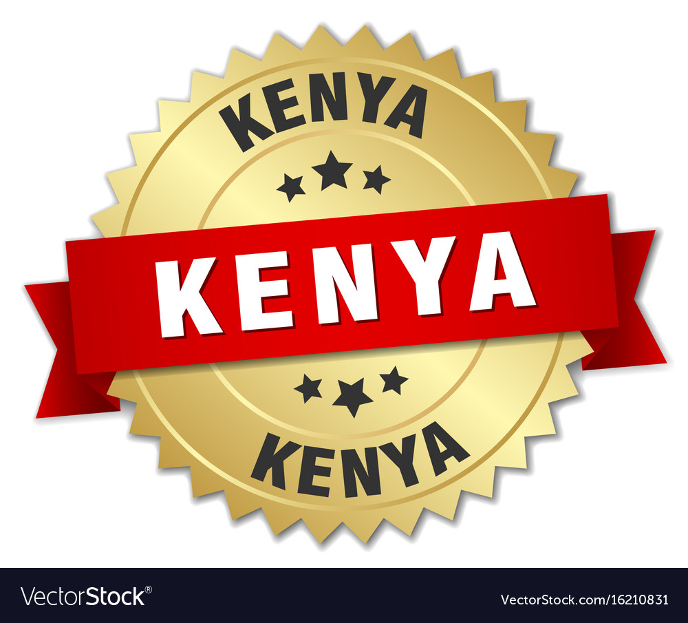 Kenya round golden badge with red ribbon vector image