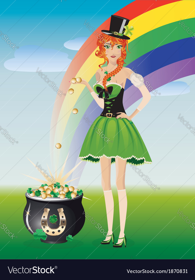 Leprechaun girl with pot of gold vector image