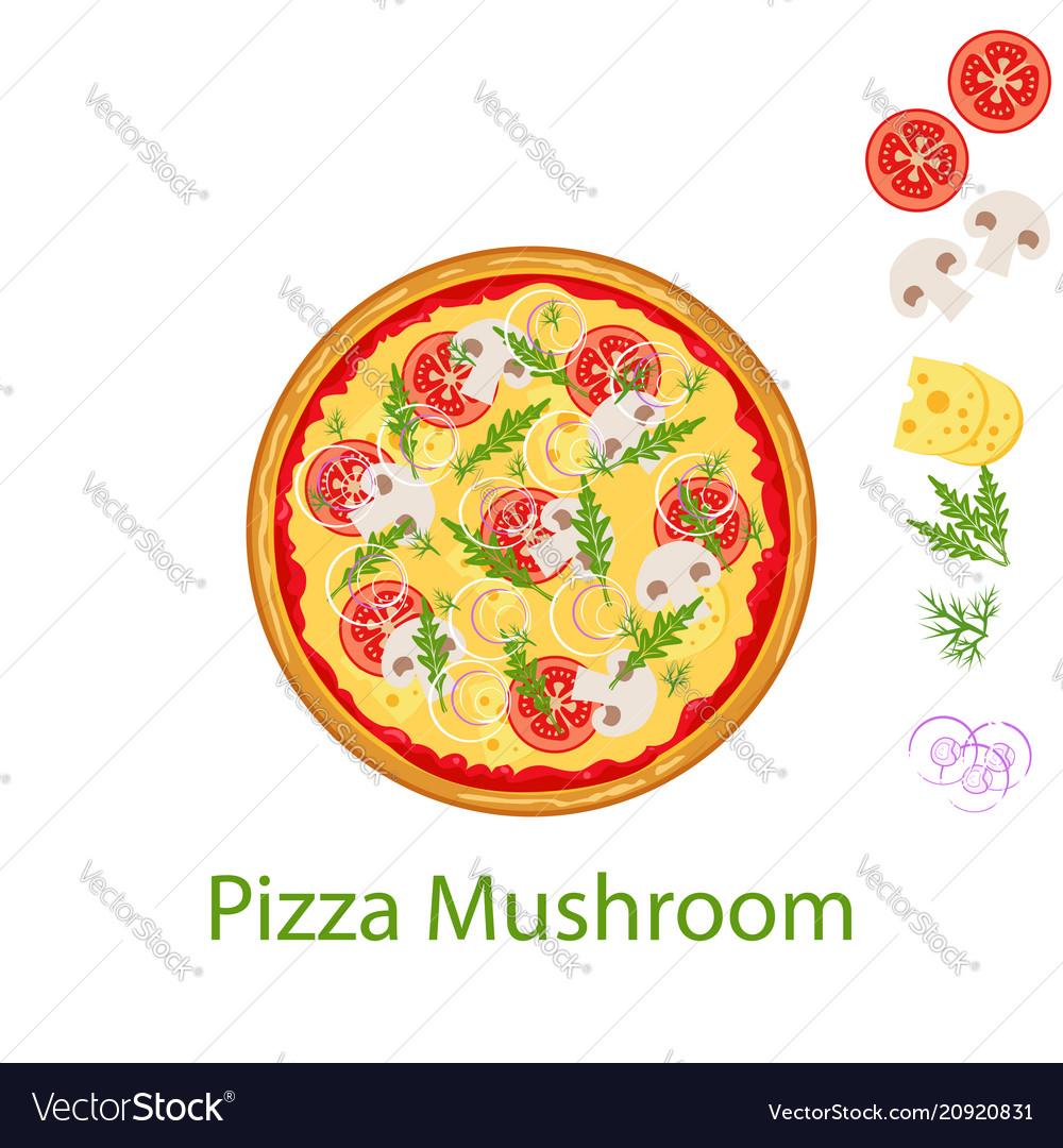 Pizza mushroom flat icon isolated on white