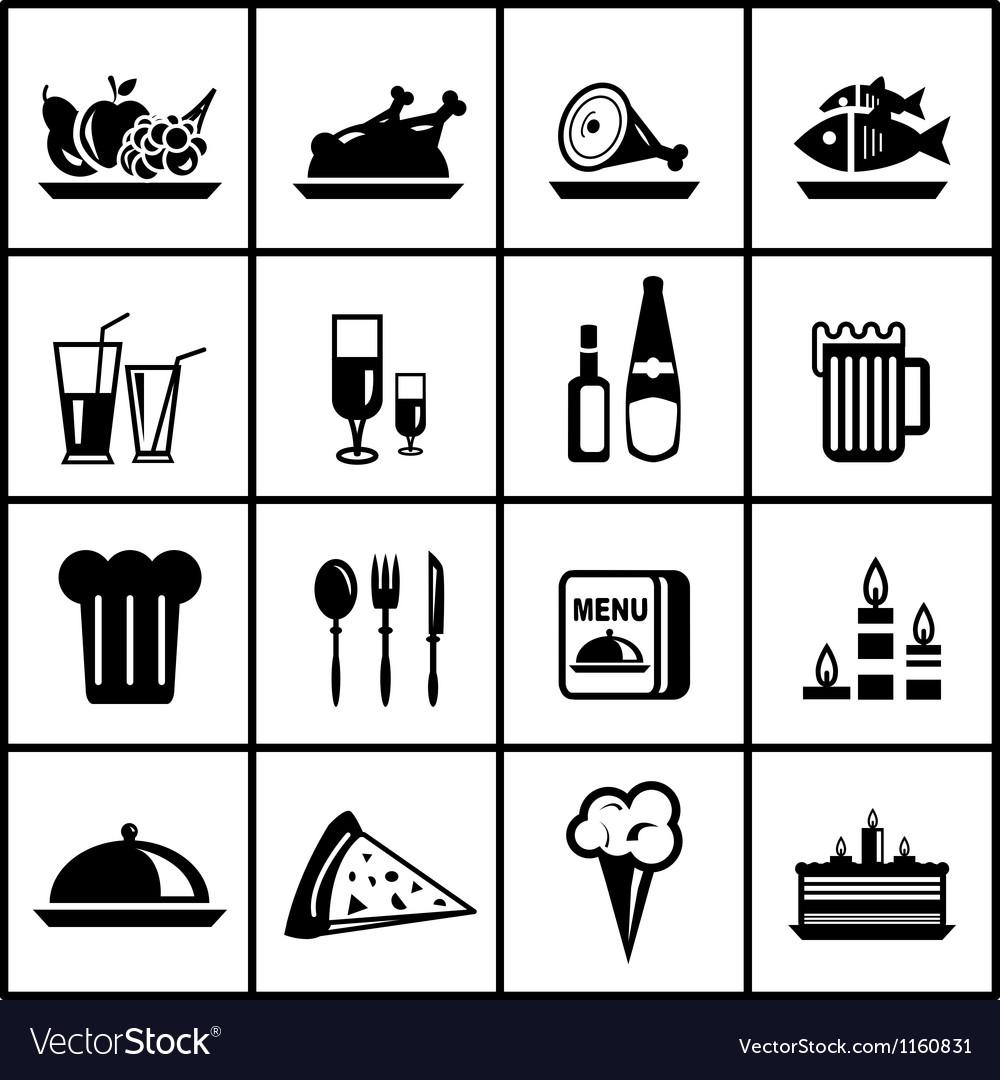 Restaurant food black icon set vector image