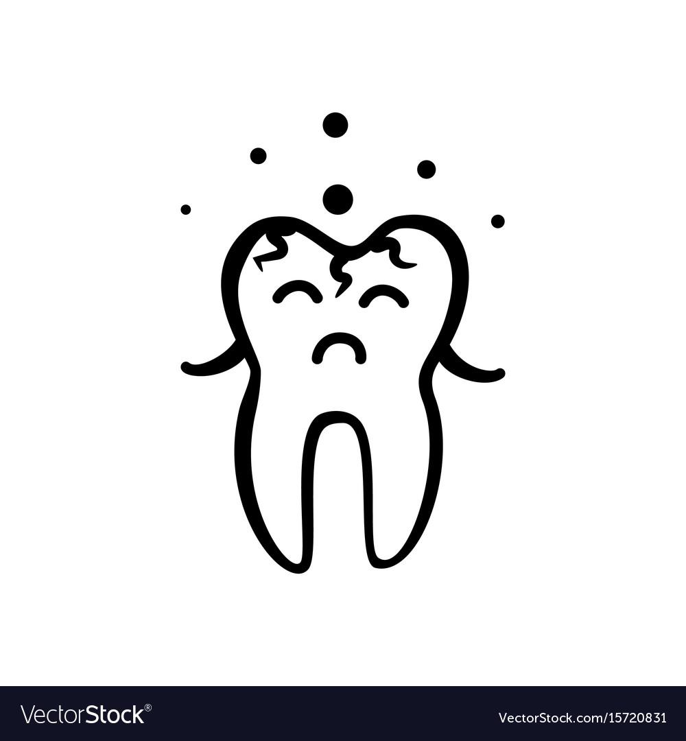 Sad Tooth Icon Royalty Free Vector Image Vectorstock