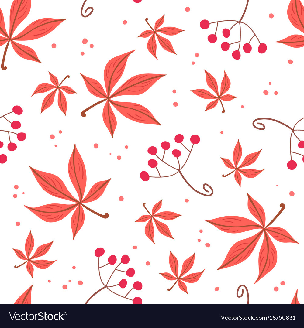 Seamless pattern of autumn leaves and berries