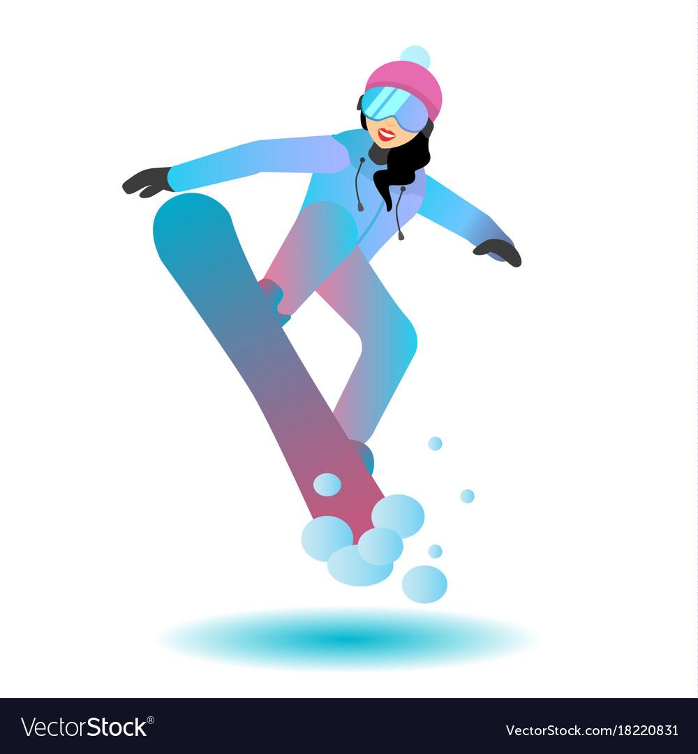 Snowboarder female cartoon character