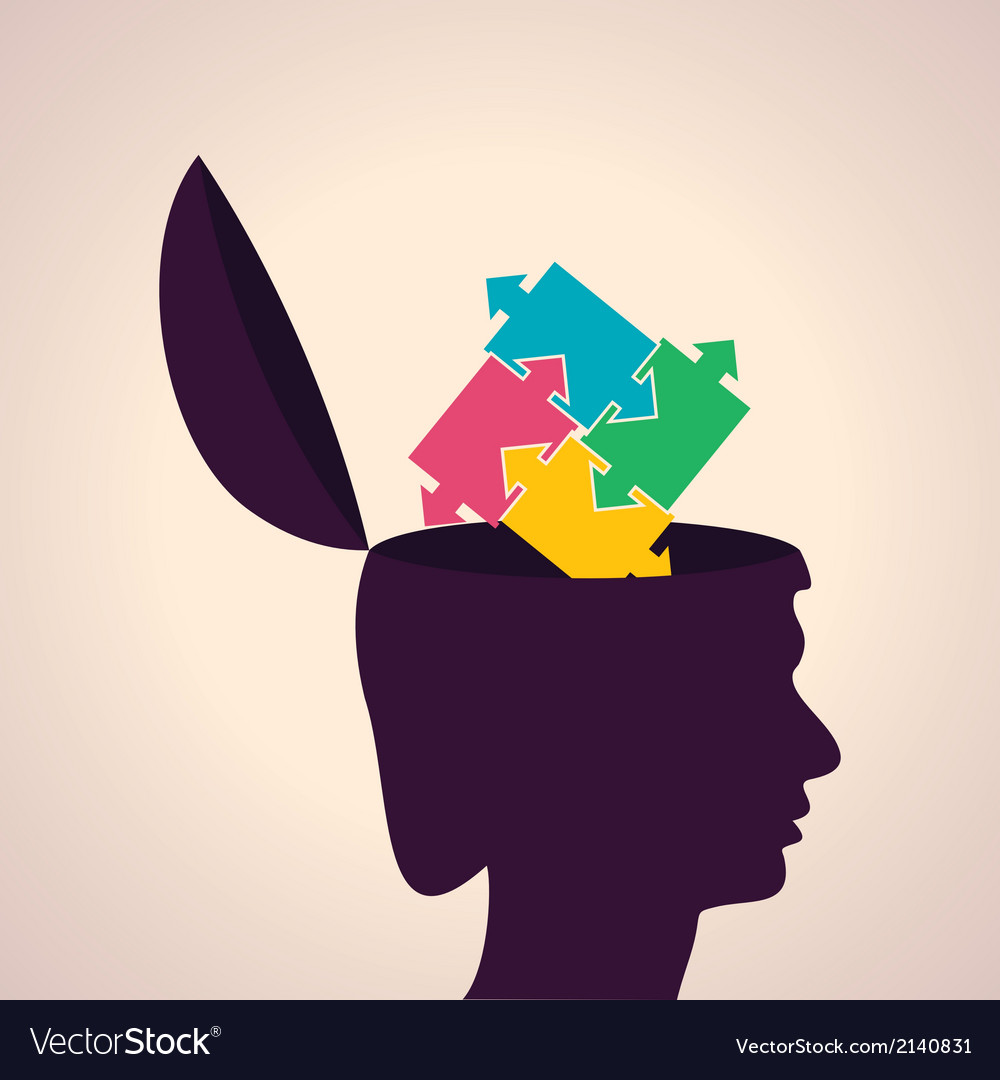 Thinking concept-Human head with puzzle pieces