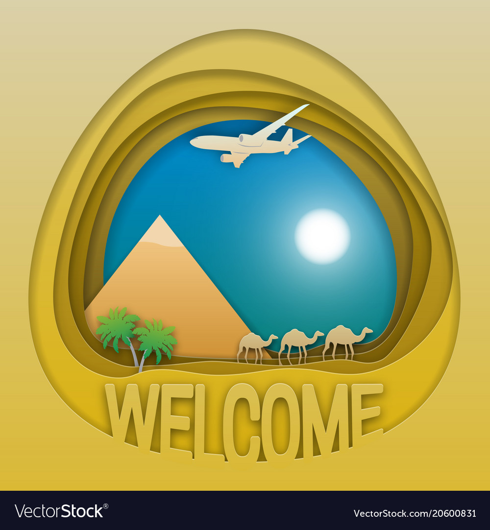 Welcome to egypt travel concept emblem pyramid