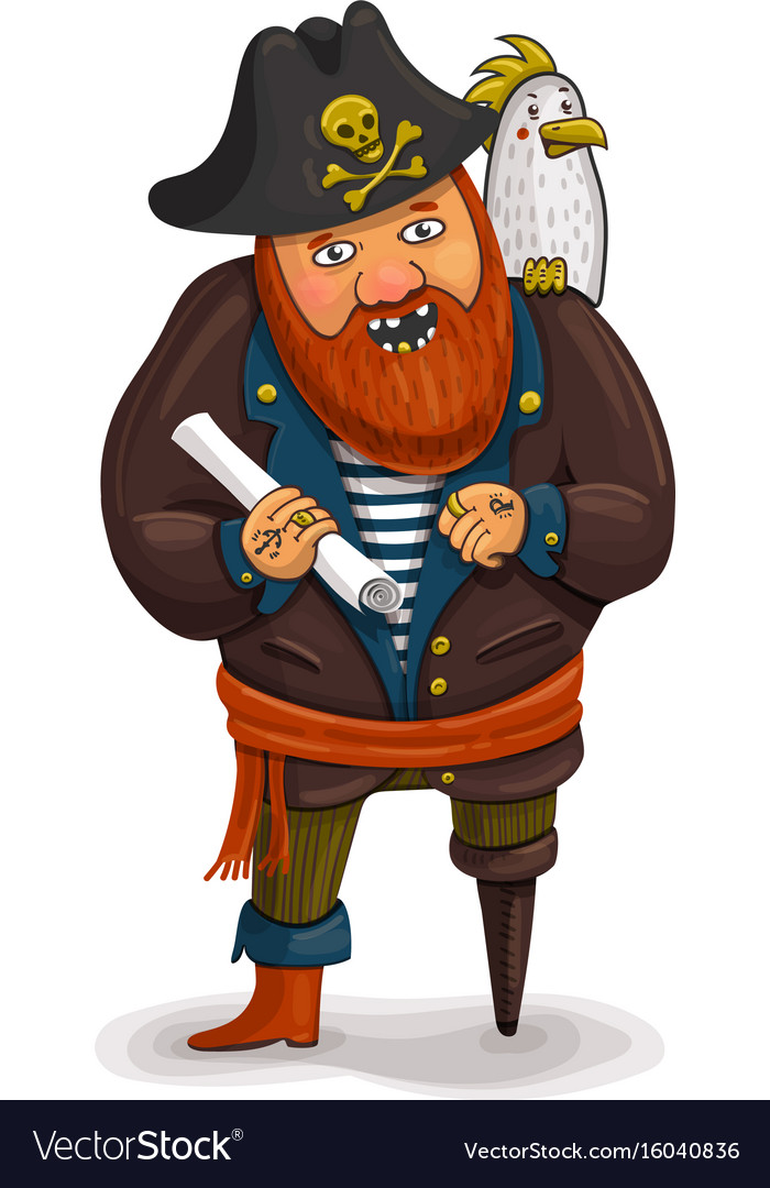 An of a friendly cartoon pirate vector image