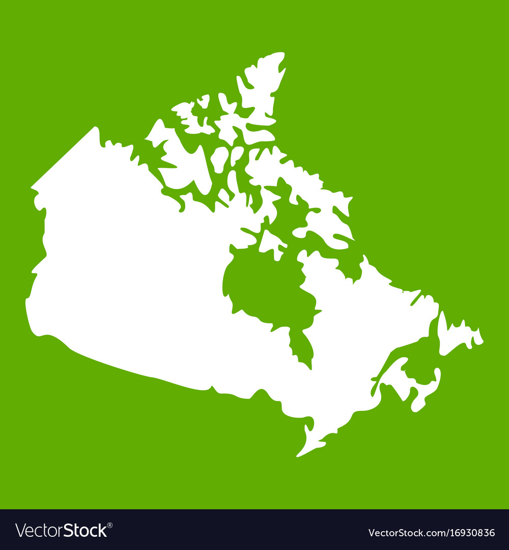 Canada map icon green Royalty Free Vector Image