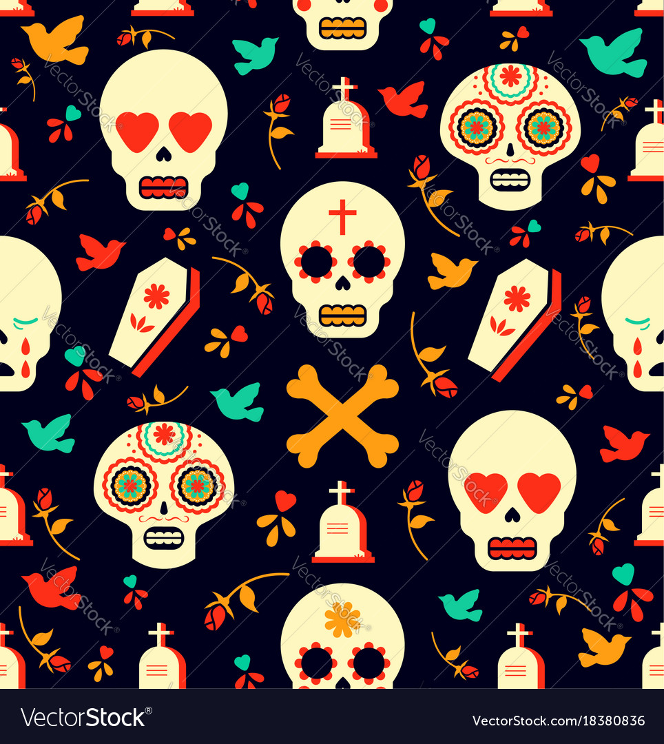 Day of the dead sugar skull icon seamless pattern