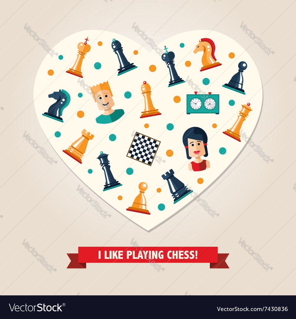 Heart postcard with flat design chess and players vector image