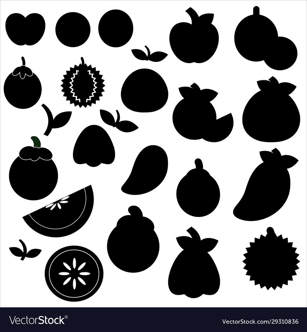 Icon fruit set on a white background