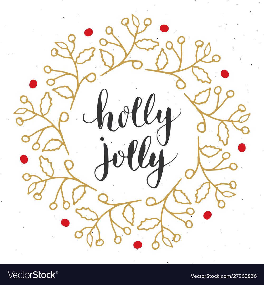 Merry christmas calligraphy lettering holly jolly
