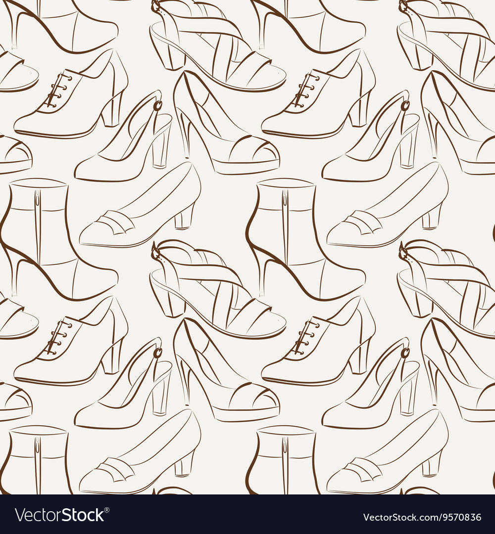 Seamless pattern of various women s shoes