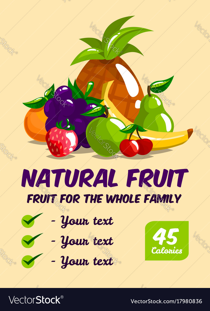 Set of fresh fruits calories and useful