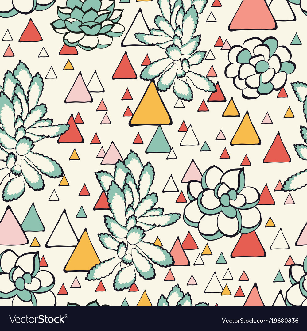 Succulent and triangles seamless pattern