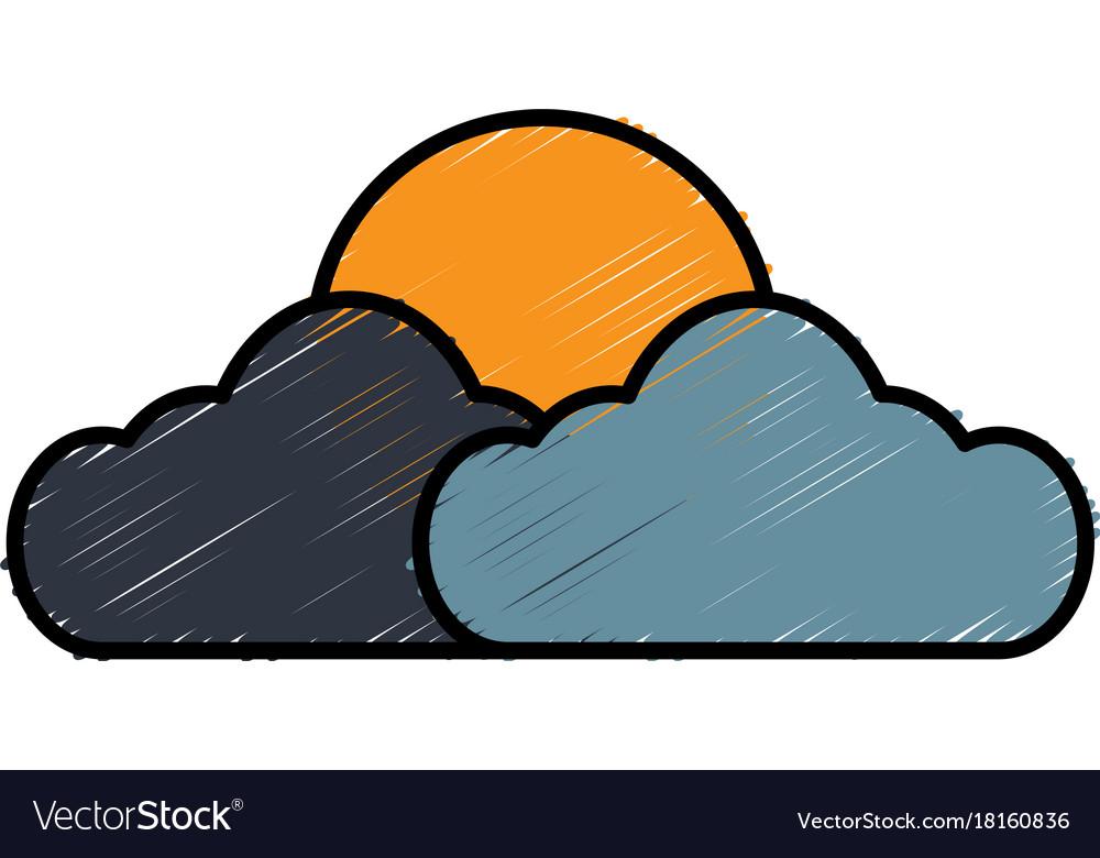 Sun And Cloud Symbol Royalty Free Vector Image