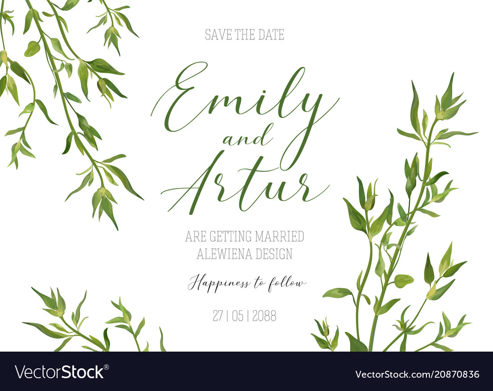 Wedding floral invite save the date rustic design
