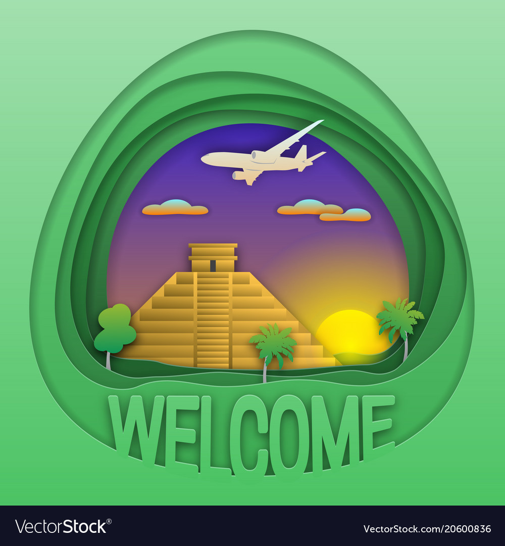 Welcome to chichen itza travel concept emblem