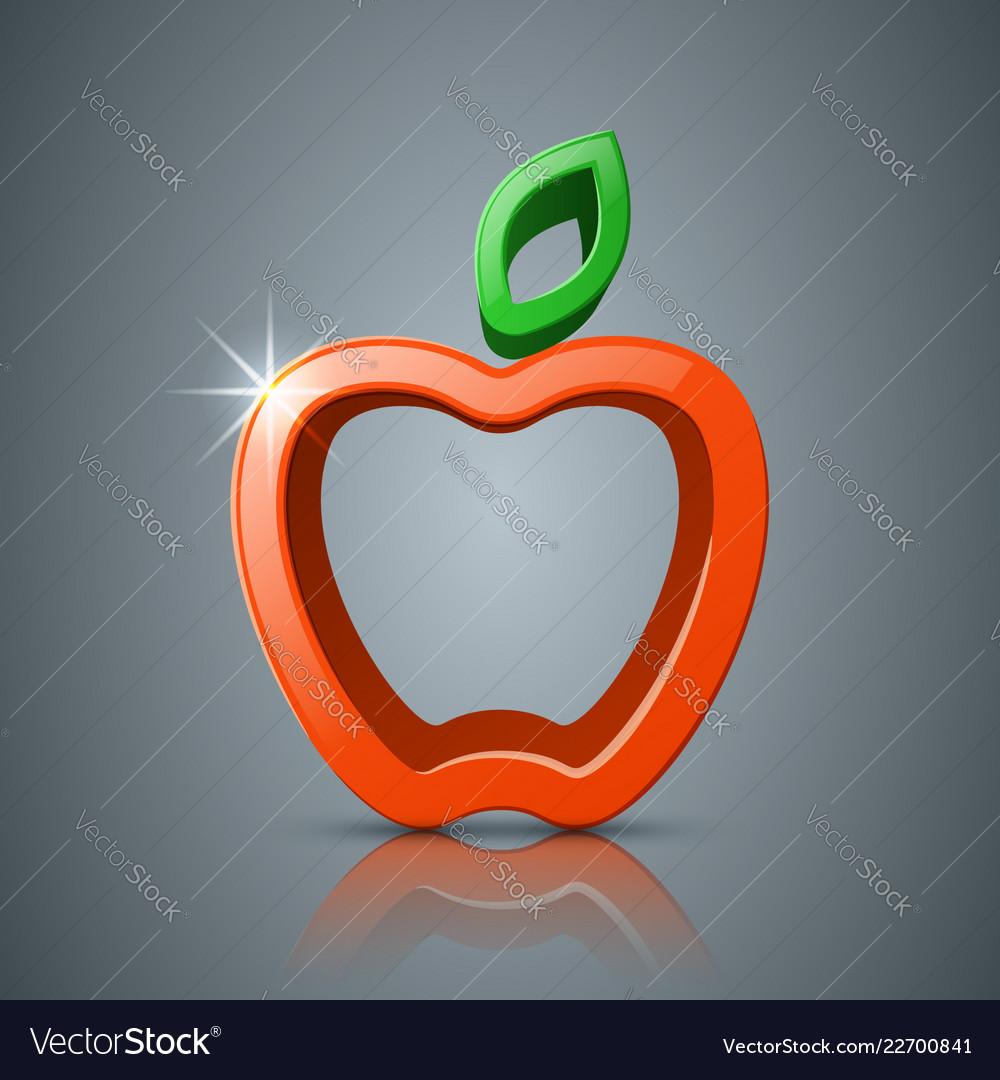 Apple leaf 3d icon logo