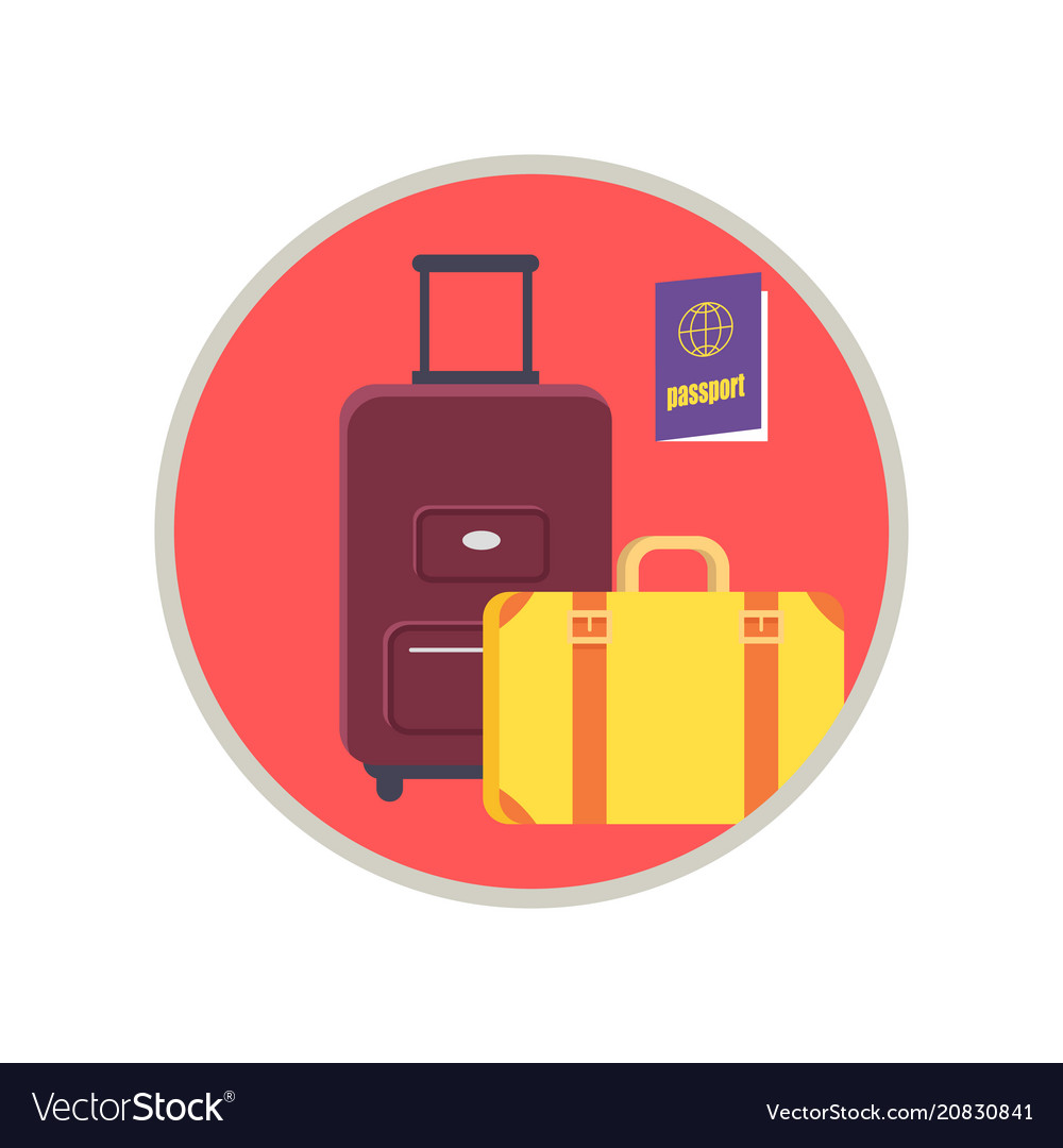 Baggage and passport icon vector image