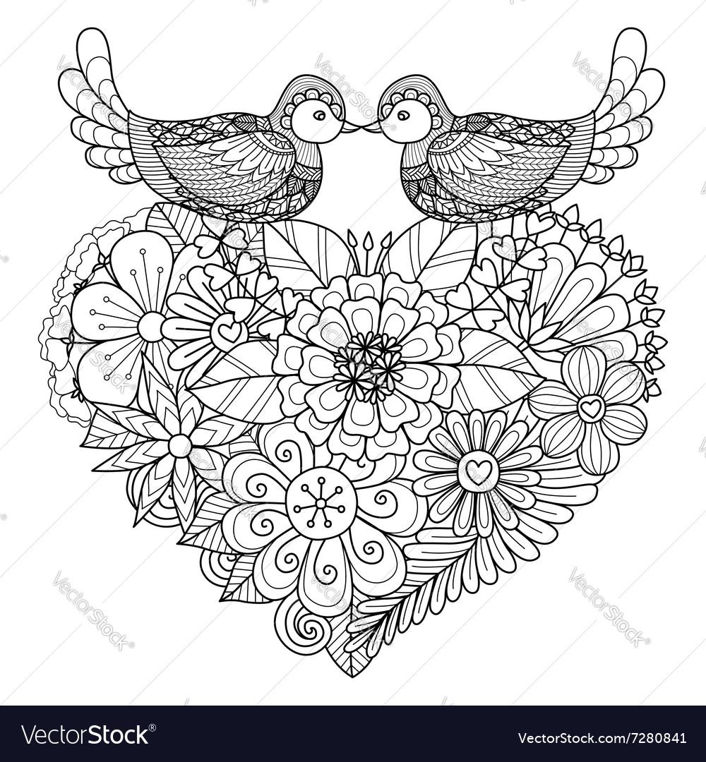 Bird couple coloring book vector image