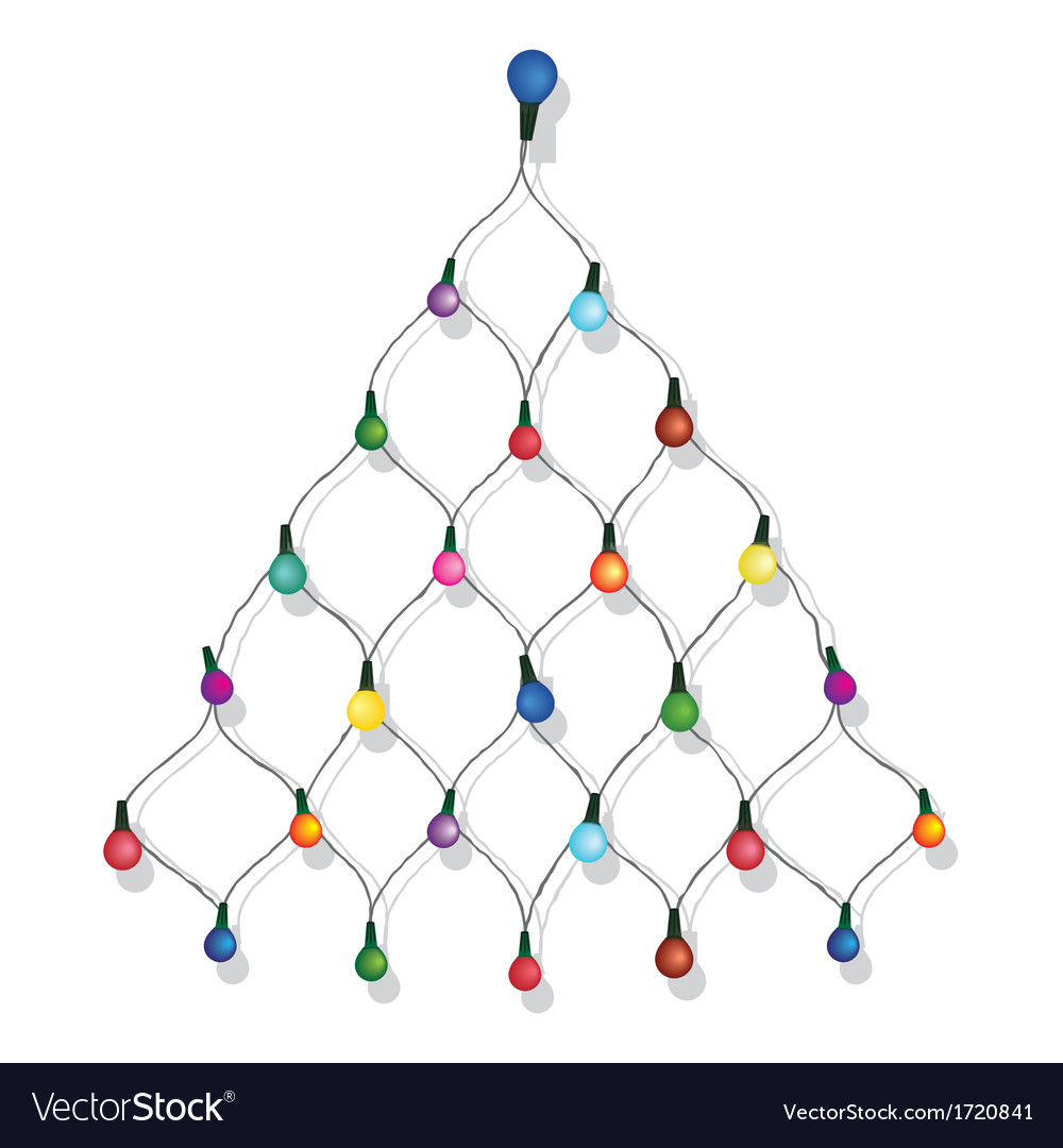 christmas tree garland lights string vector image