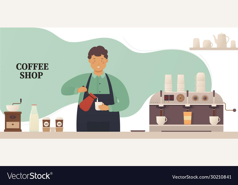 Coffee shop young barista at bar makes a hot
