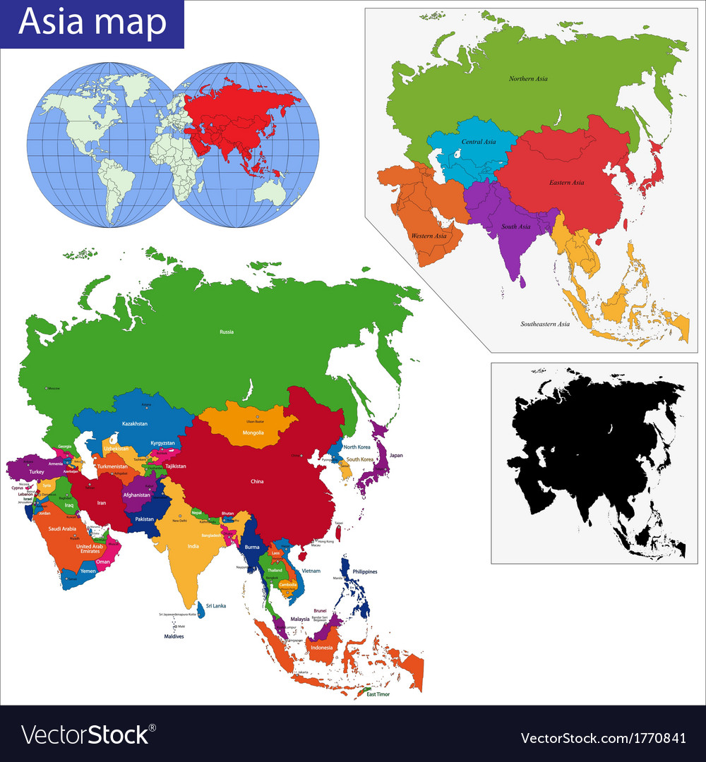 Asia On A Map Of The World.Colorful Asia Map