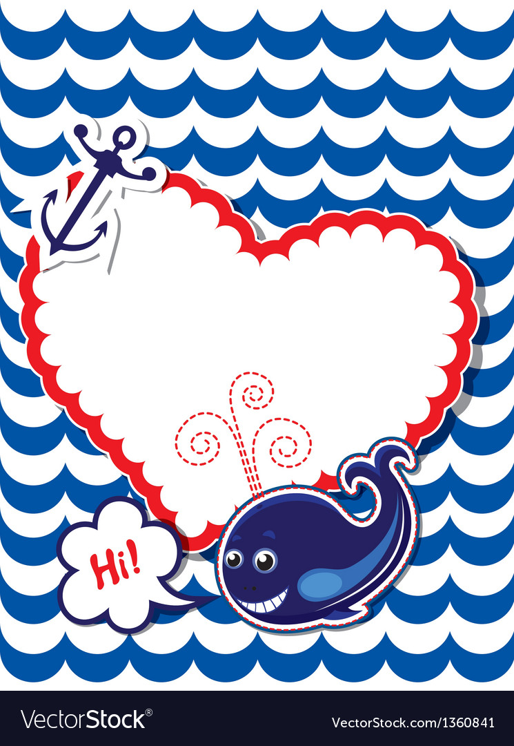 Funny Card with whale anchor and empty frame vector image