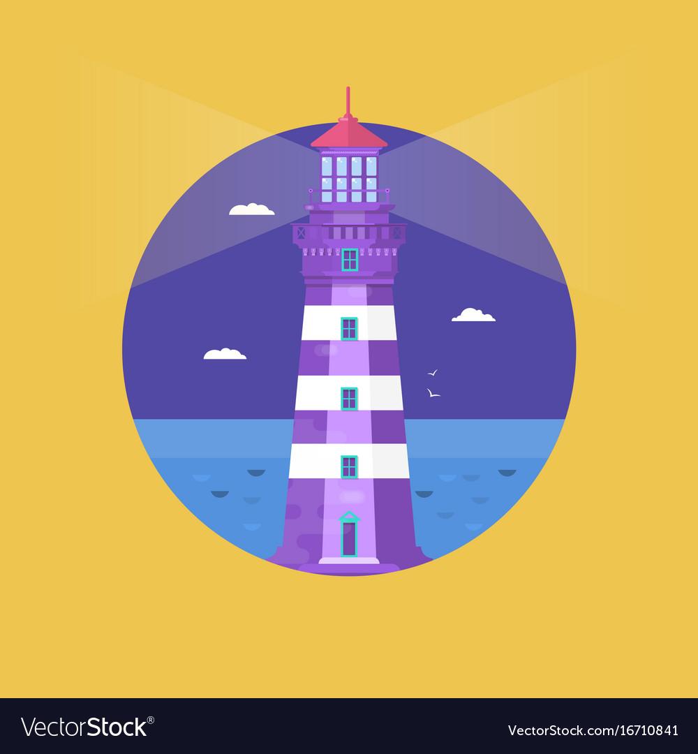 Lighthouse on ocean or sea beach cartoon