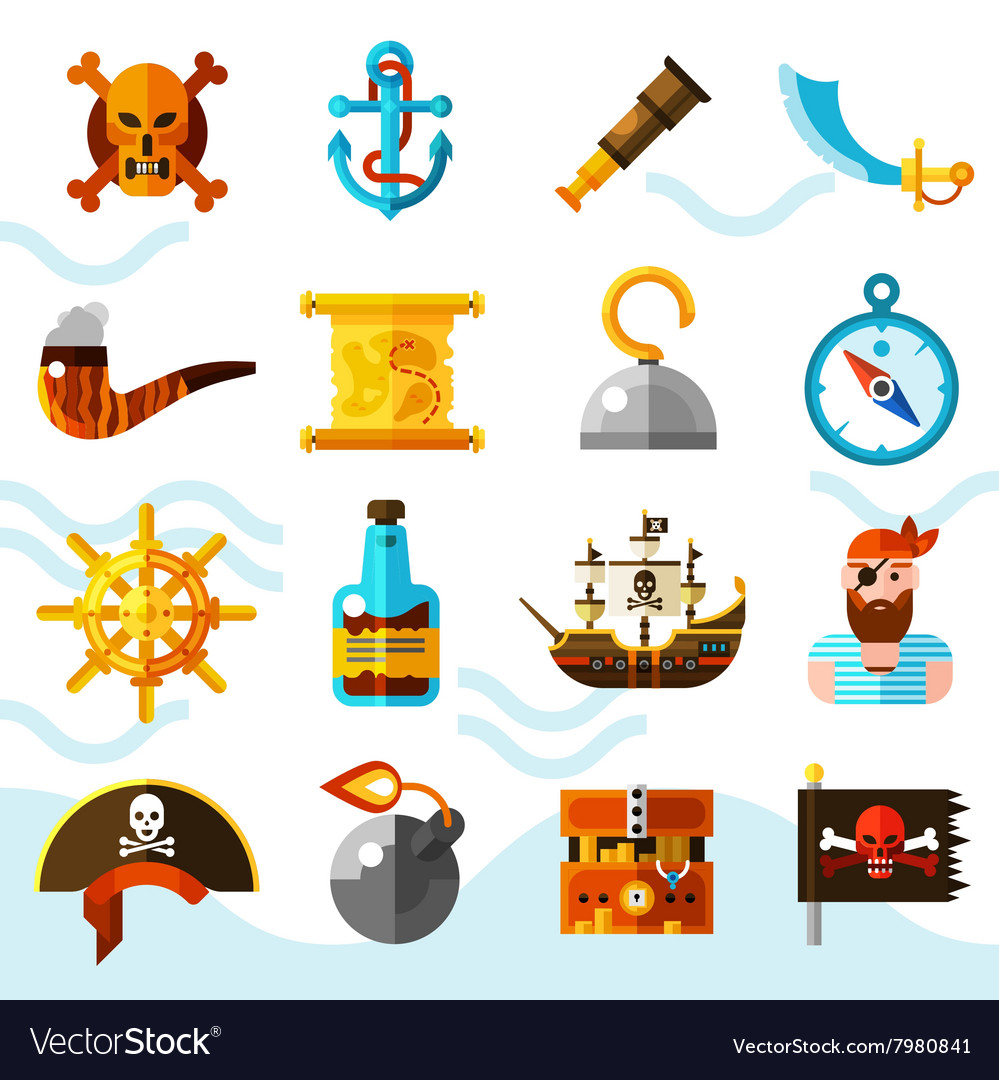 Pirates Color Icons Set