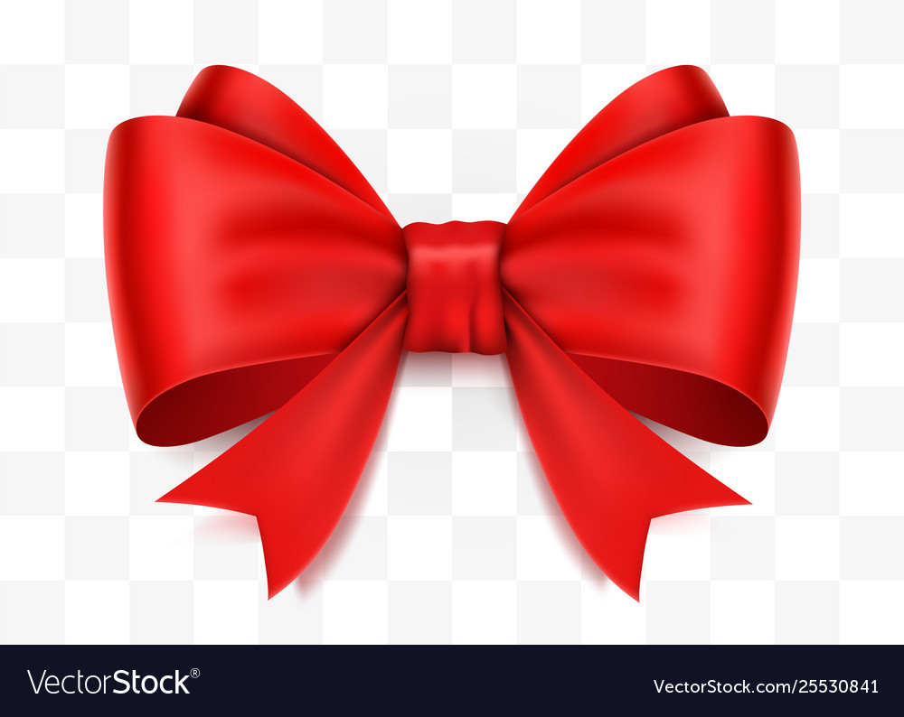 Realistic red bow isolated on transparent