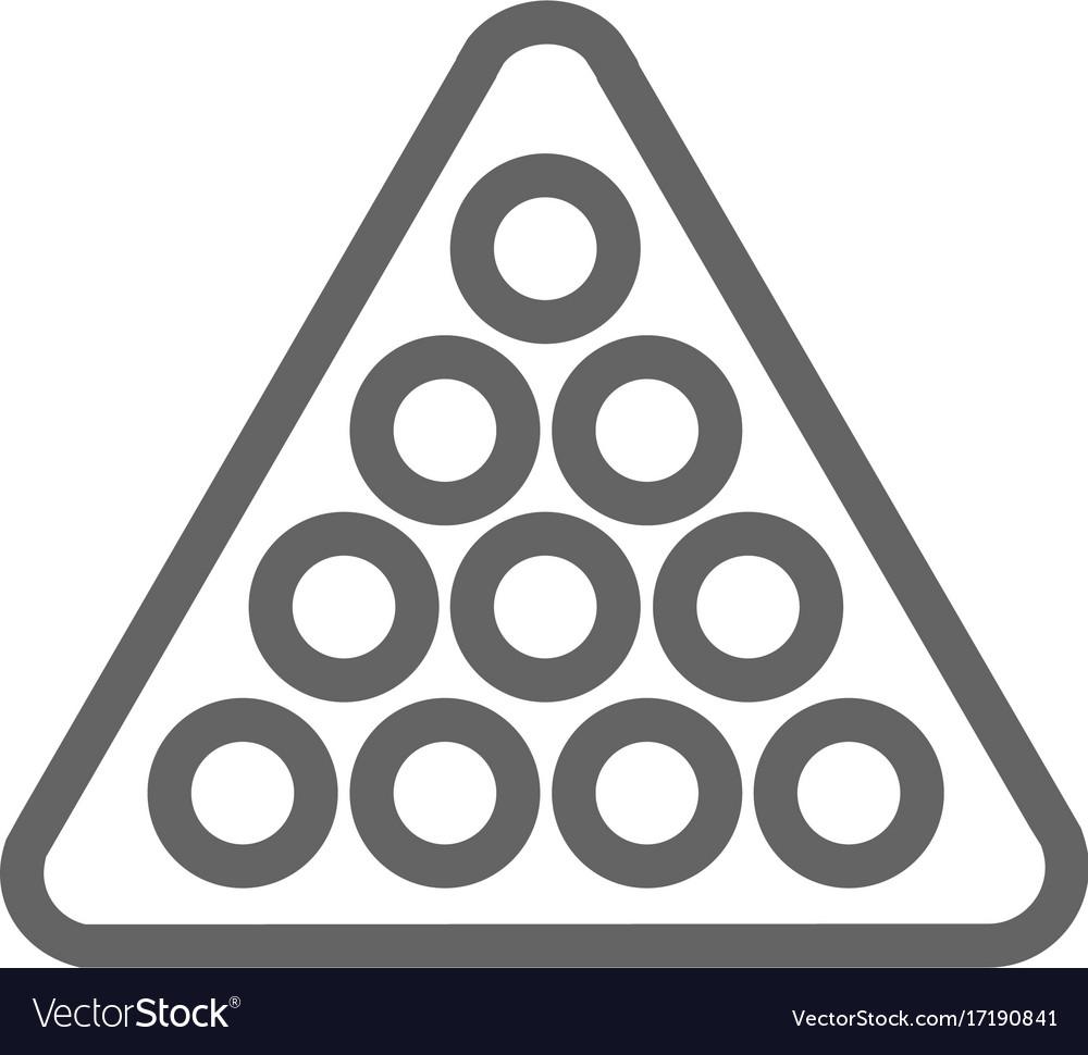Simple billiard balls in triangle line icon vector image
