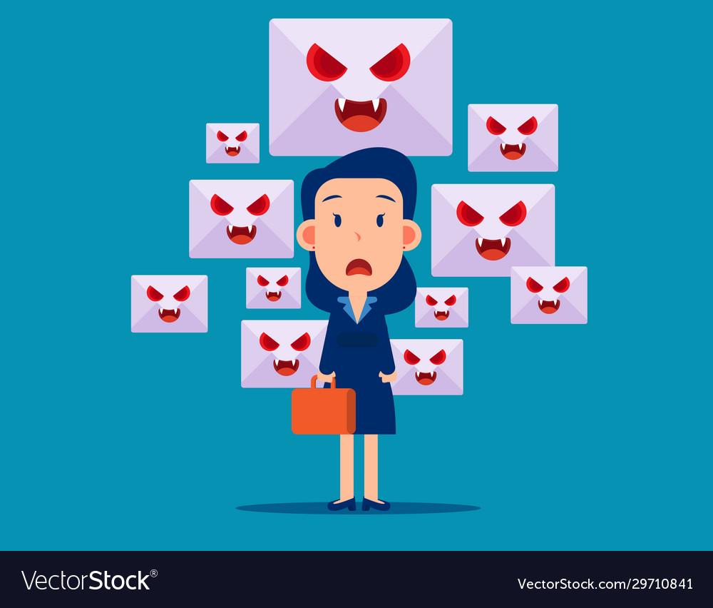 Spam mail and virus online dangger flat cartoon