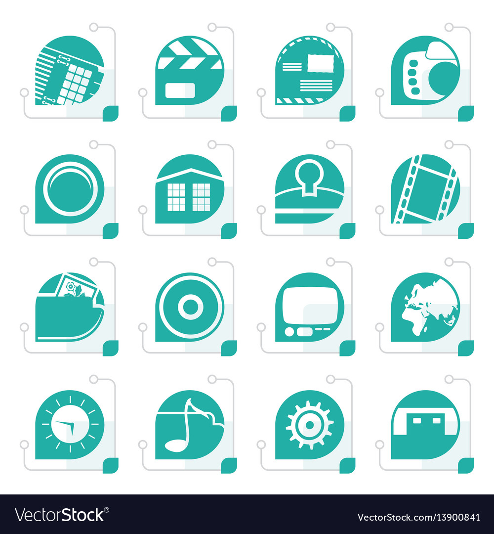 Stylized internet computer and mobile phone icons