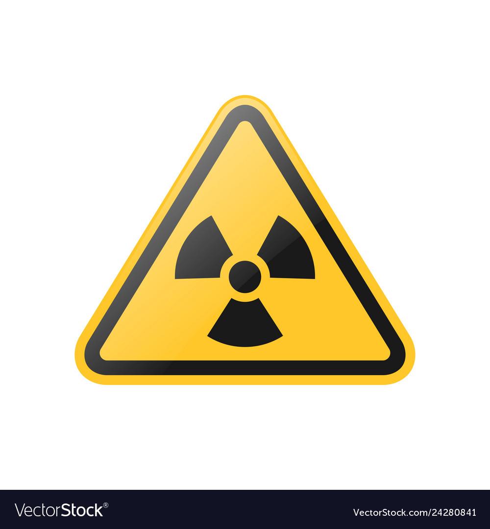 Yellow radiation warning sign