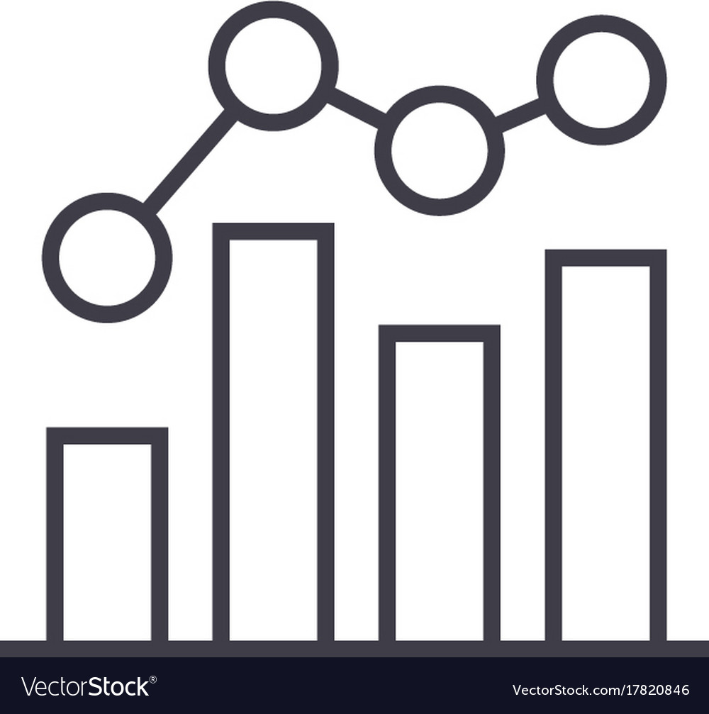 business chart bar graph line icon sig royalty free vector