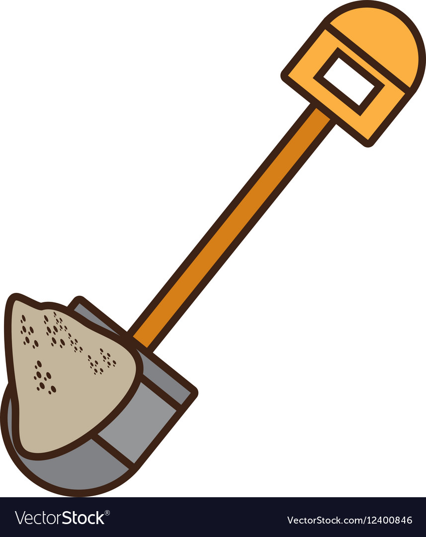 Cartoon mining mineral sand shovel vector image