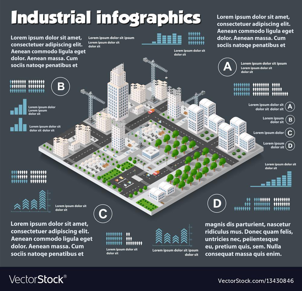 City isometric industry