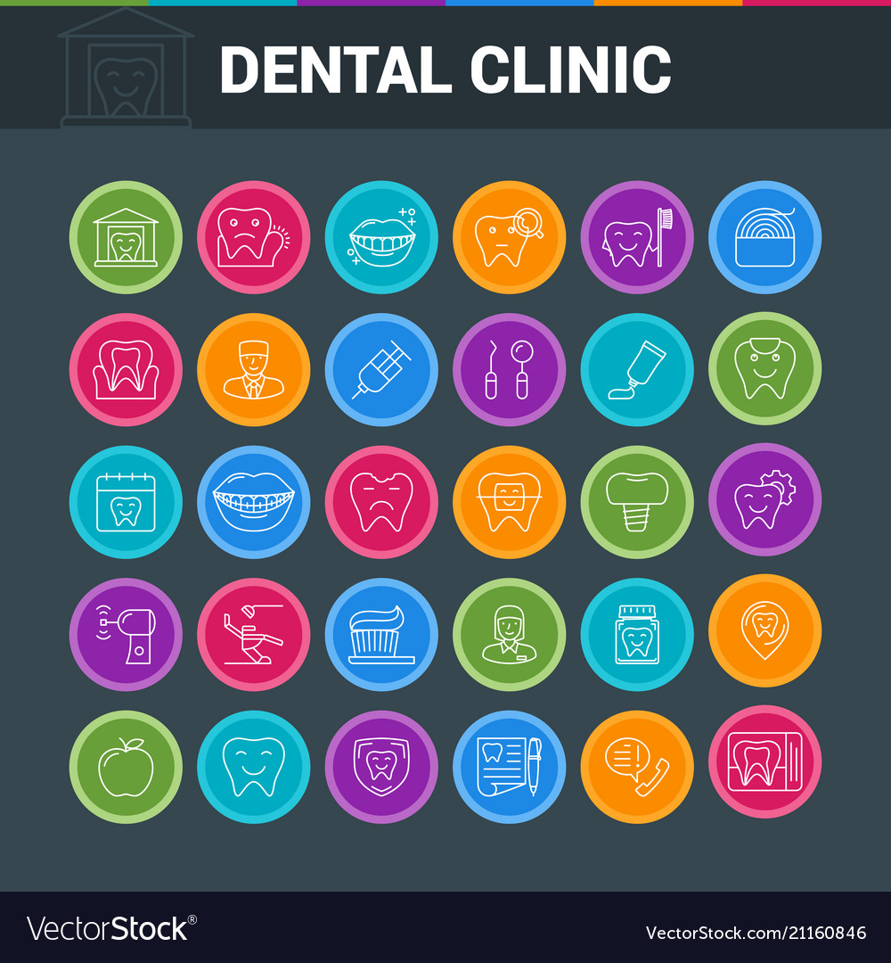 Dental clinic round icons
