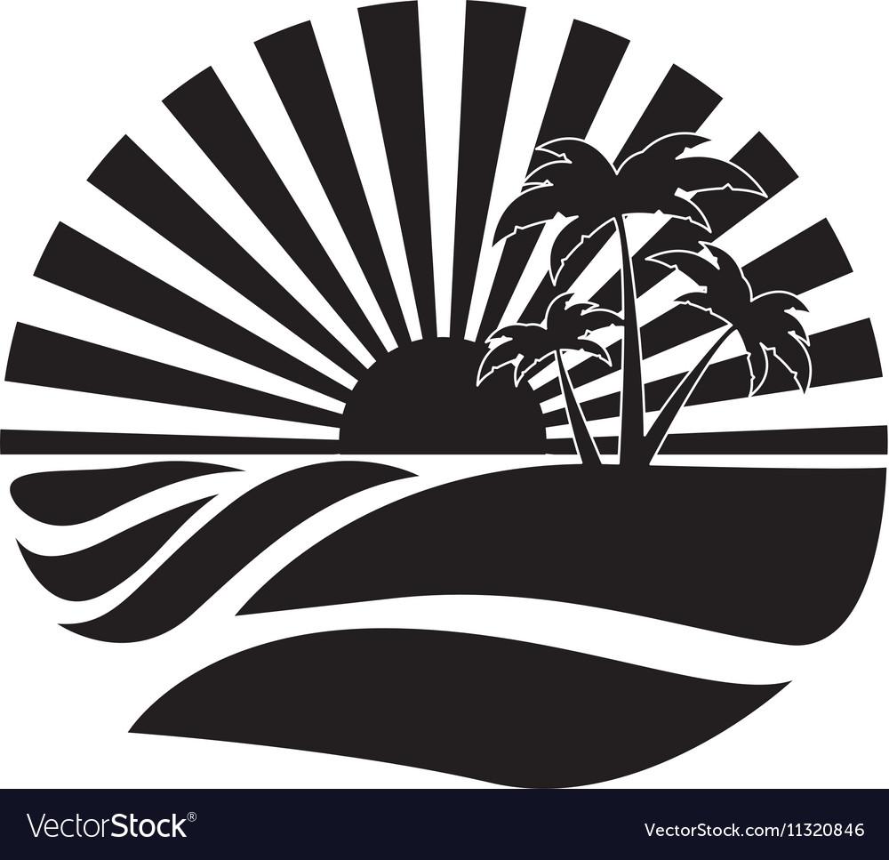 Emblem style tropical island icon image