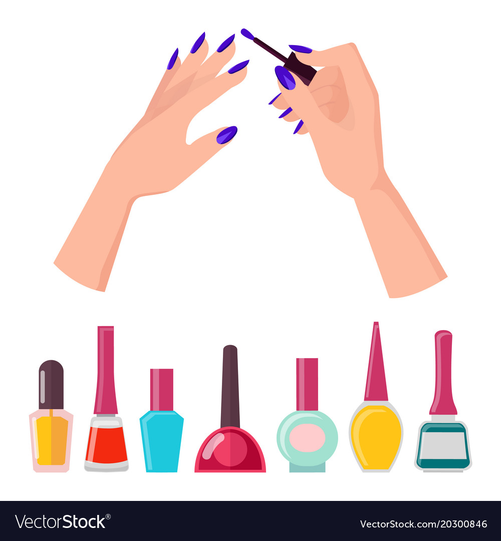 Fingernails and polish poster Royalty Free Vector Image