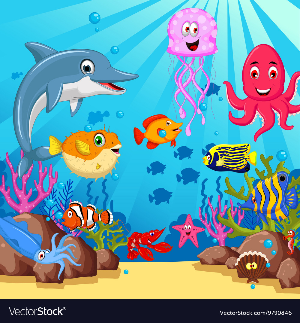 Funny cartoon sea life for you design vector image