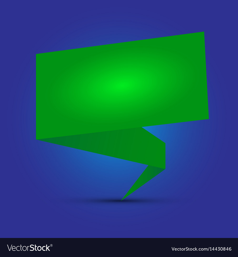Green origami speech vector image