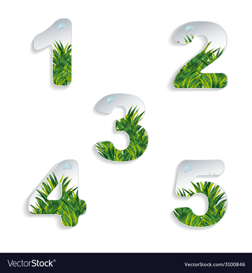 Icons 12345 numbers with grass effect and
