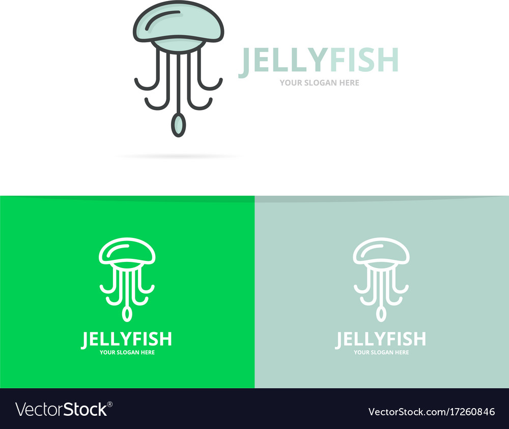 Jellyfish and seafood logo design template