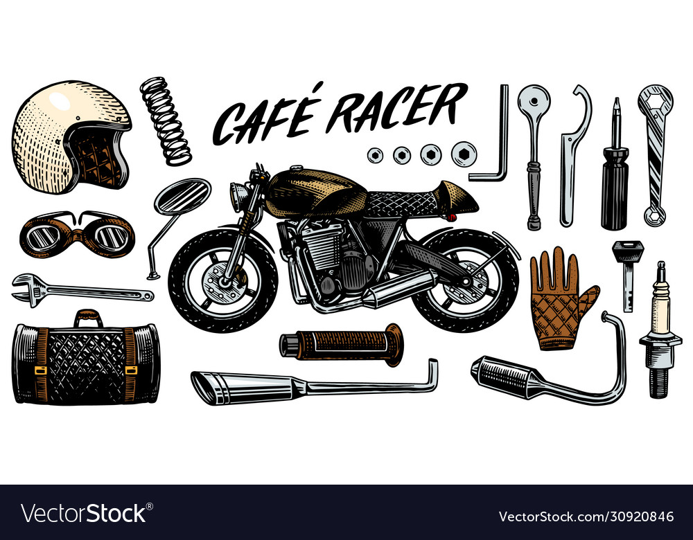 Motorcycle repair set tools for cafe racer