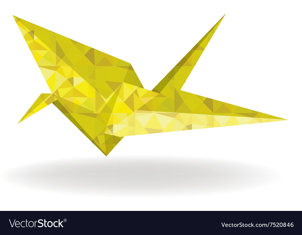 Paper gold bird and doves set in origami style