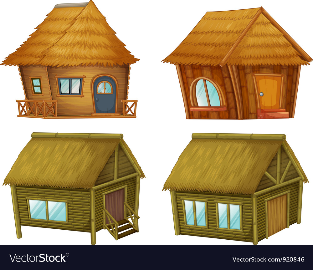 Set of cabins vector image