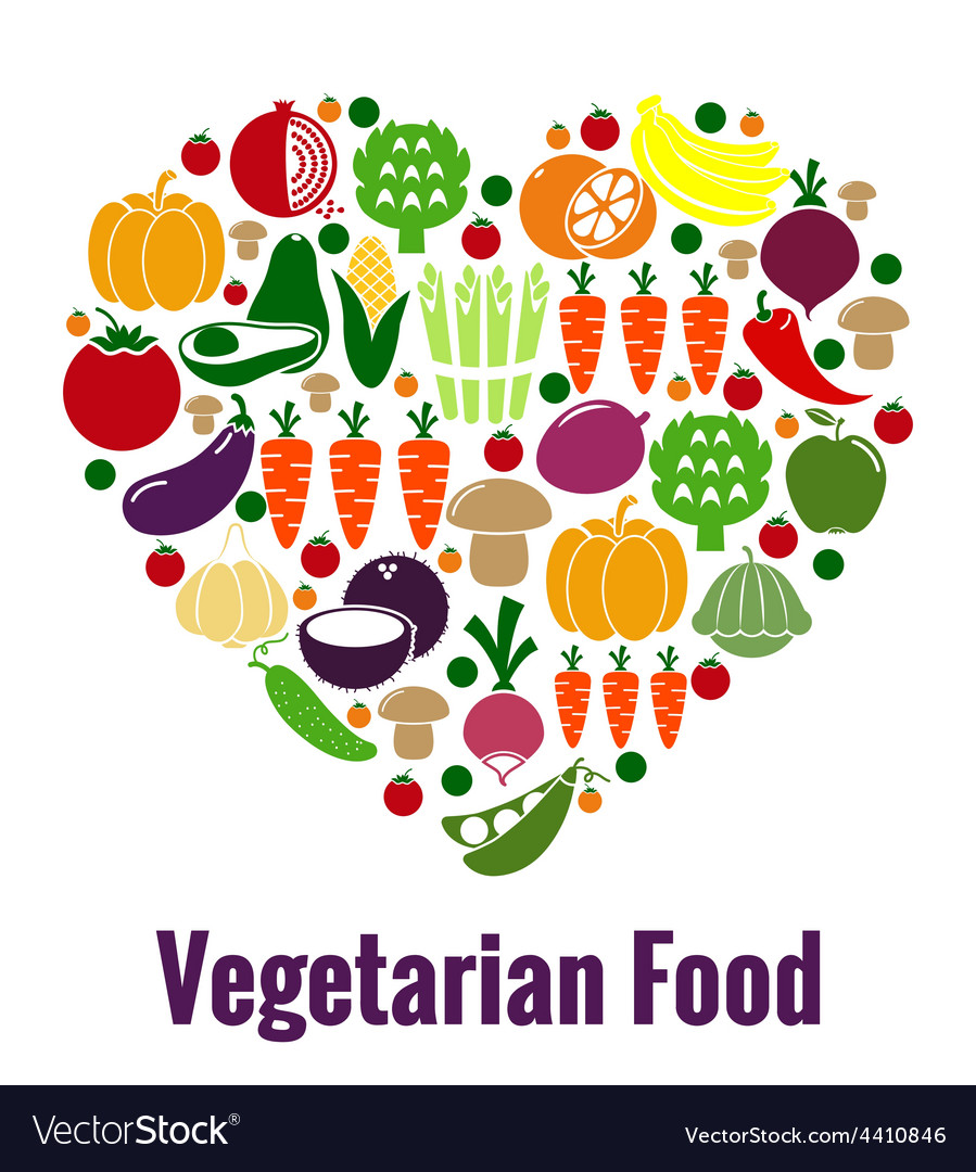 Vegetarian food heart shape vector image